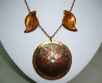 £41.60 - 1960s Signed Moda Designer Large Copper Flower Pendant and Earrings