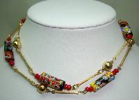 Vintage Art Deco Venetian Millefiori Art Glass Murano Bead Necklace