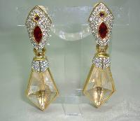 Signed Swarovski Red and Clear Crystal Dangle Gold Clip On Earrings