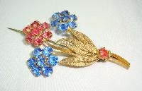 £15.60 - Vintage 30s Czech Blue & Pink Crystal Flower Brooch