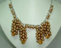 1950s Style Gold Faux Pearl Bead Cluster Drop Necklace