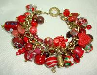 Fabulous Assorted Red Murano Glass Bead Cluster Charm Bracelet Wow!