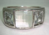 £21.60 - 1980s Chunky Wide Clear Lucite Clamper Cuff Bangle WOW