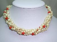 Vintage 50s Pretty 4 Row Faux Pearl and Orange Bead Torsade Necklace