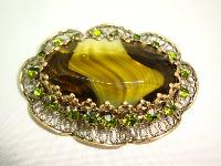 Vintage 50s Large Moss Green Agate Glass and Diamante Scallop Brooch