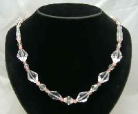 Vintage 50s Lovely Pink & Clear Crystal Bead Necklace
