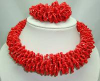 Stunning Chunky Reddish Orange Glass Seed Bead Necklace + Bracelet Set