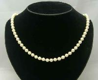 £18.00 - Vintage 50s Hand Knotted Simulated Pearl Bead Necklace