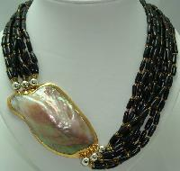 Vintage 70s 9 Row Brown Bead Necklace Huge MOP Side Feature Fabulous!