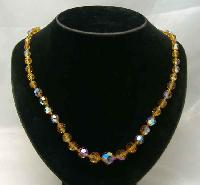 Vintage 50s Citrine AB Crystal Glass Bead Necklace WOW
