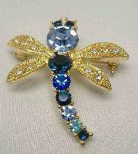 Vintage 80s Charming Blue Diamante Dragonfly Brooch WOW