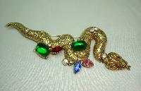 Vintage 50s Stunning Multi Coloured Diamante Encrusted Gold Snake Brooch