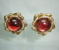 Vintage 50s Fabulous Chunky Domed Red Lucite Goldtone Clip On Earrings