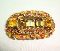 1950s Unusual Signed Sphinx Amber Citrine Orange Diamante Gold Brooch
