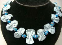 £16.80 - 1930s Bespoke Blue Wedding Cake Glass Bead Necklace