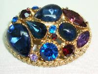 Vintage 50s Sphinx Purple & Blue Glass Diamante Domed Gold Brooch