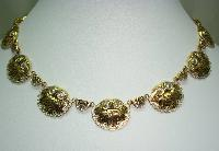 Vintage 50s Toledoware Damascene Shell Design Link Gold Necklace