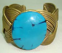 Unique Wide Pleated Style Gold Cuff Bangle with Large Turquoise Stone