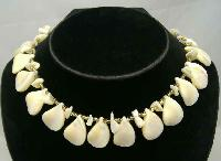 1950s Mother of Pearl Teardrop & Gold Bead Necklace WOW