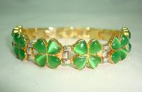 Green Glass Four Leaf Clover Goldtone and Silvertone Link Bracelet