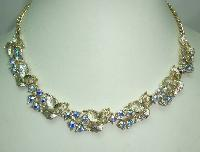 Vintage 50s Beautiful AB Diamante Floral Link Goldtone Necklace