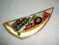 £14.40 - Vintage 80s Abstract Multicoloured Diamante Gold Brooch