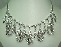 Vintage 50s Glam Diamante Dangle Drop Silver Necklace