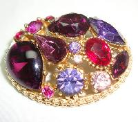 Vintage 50s Sphinx Purple Pink Glass Diamante Domed Gold Brooch