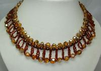 1950s Amber Crystal Glass & Pearl Drop Collar Necklace