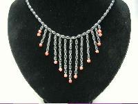 £18.00 - Vintage 80s Amazing Real Hematite & Coral Bead Bib Drop Necklace