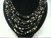 Vintage 50s Fab Black & Gold 9 Row Glass Bead Necklace