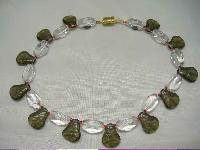 1950s Smokey Quartz & Clear Glass Bead Choker Necklace