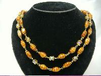 £21.60 - 1950s 2 Row Caramel Glass & AB Crystal Bead Necklace