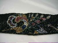 £17.60 - Vintage 80s Wide Black Glass Bugle Bead Flower Design Cumberbund Belt