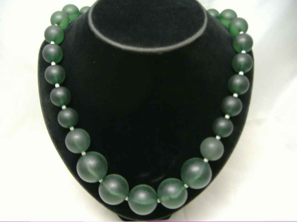 Vintage 50s Chunky Green Lucite Moonglow Bead Necklace