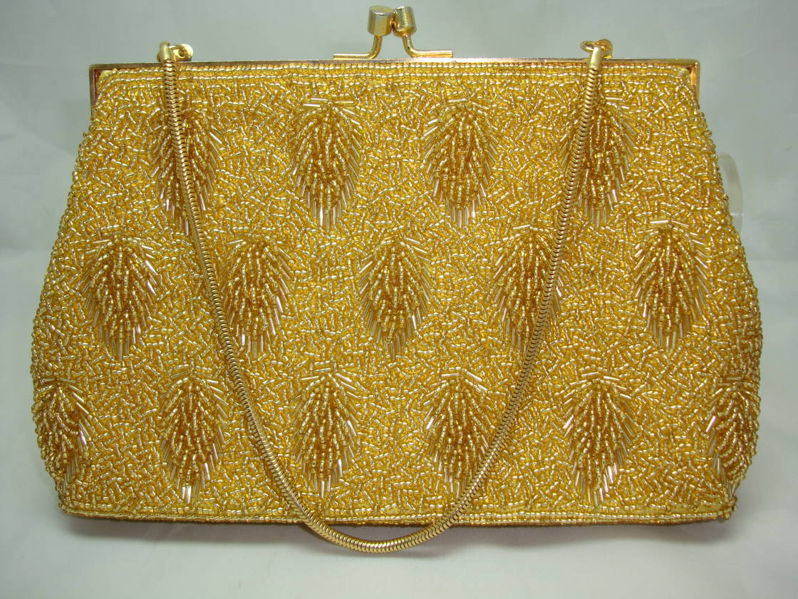Vintage 1950s Fabulous Quality Gold Glass Bead Evening Handbag