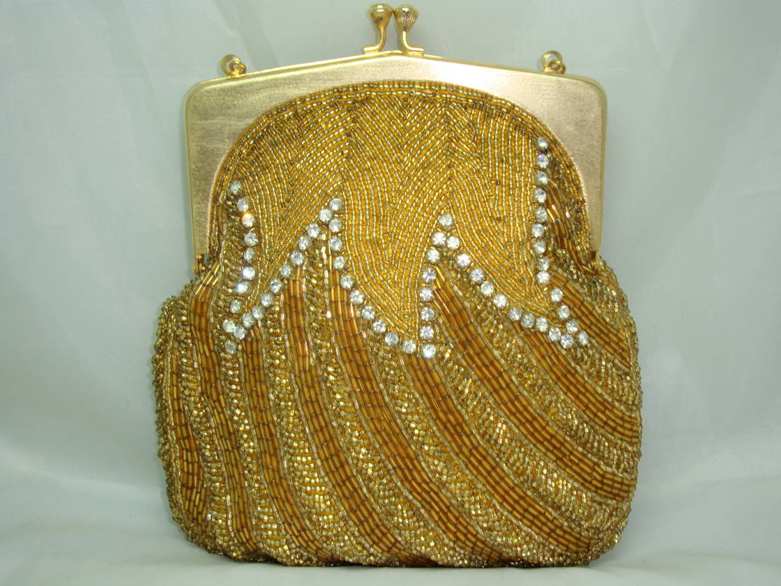 £96.00 - Vintage 50s AMAZING Gold Bead  Diamante Evening Handbag