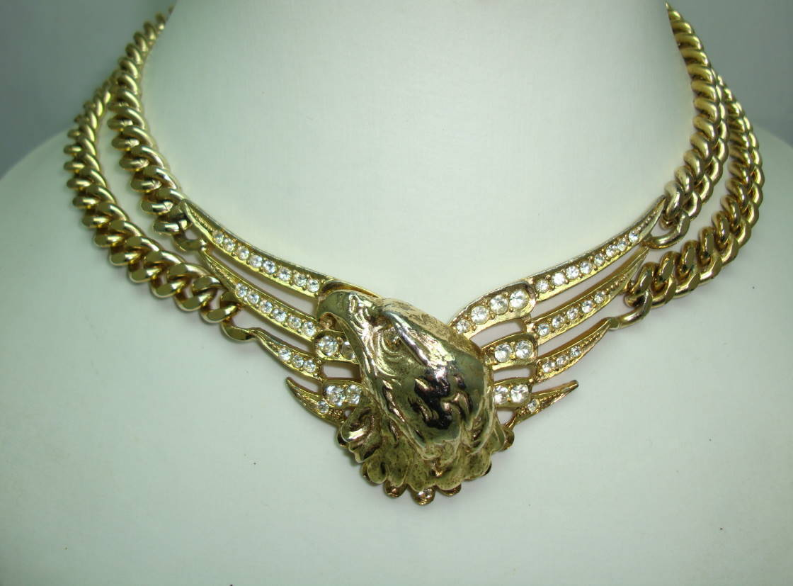 80s Butler & Wilson Liberty Eagle Diamante Chunky Chain Necklace RARE