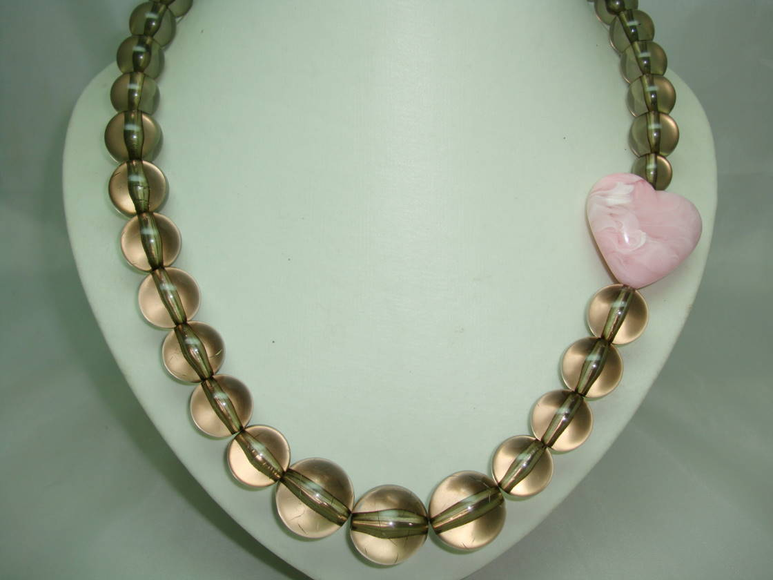 Fabulous Chunky Lucite Bead Pink Heart RibbonTie Necklace