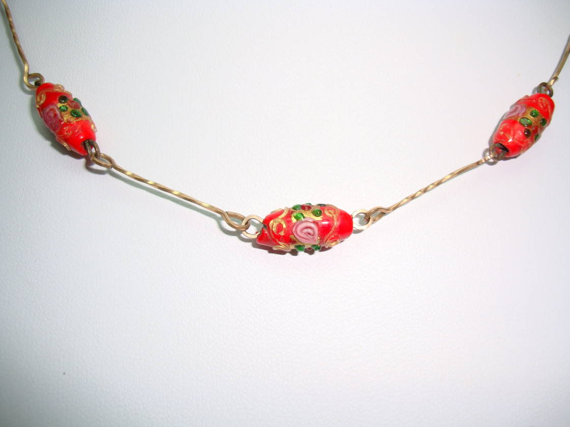 £33.60 - 1930s Red Venetian Glass Wedding Cake Bead Rolled Gold Link Necklace