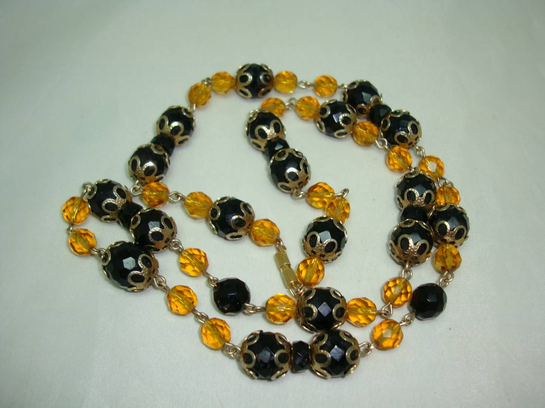 Vintage 50s Stunning Black  Glass and Citrine Crystal Bead Necklace
