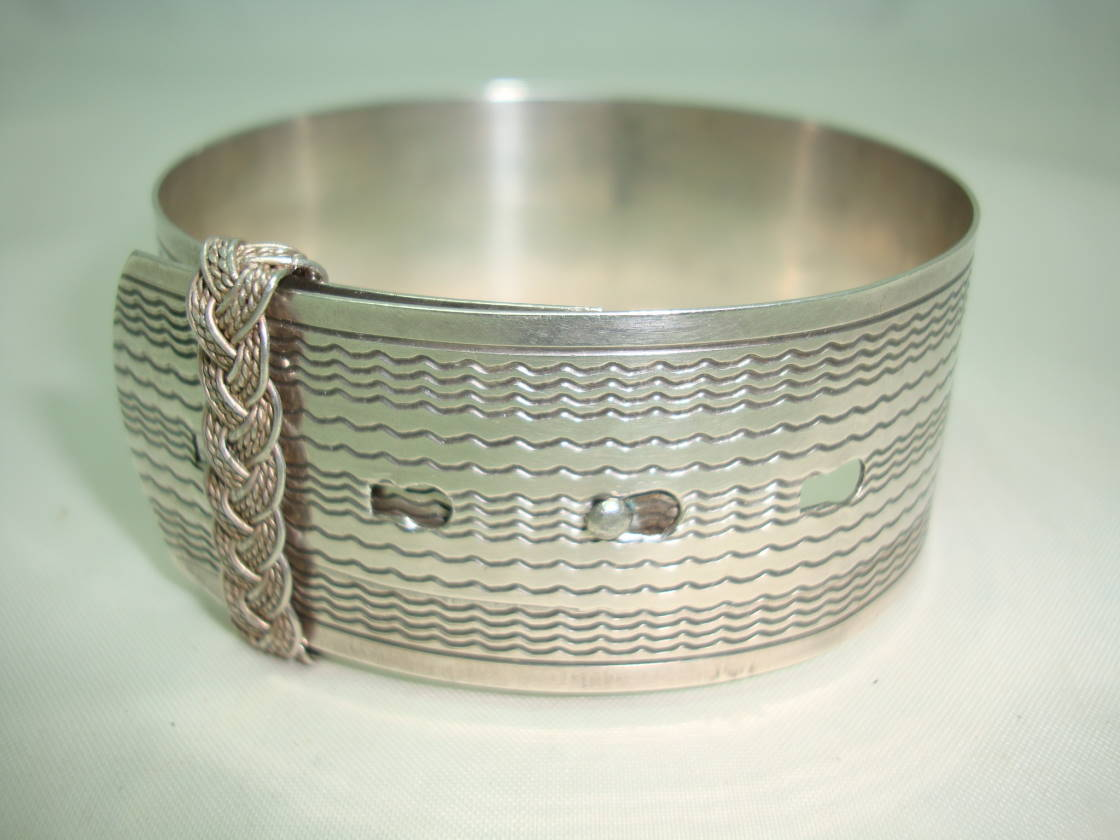 Vintage Art Deco Sterling Silver Belt Bangle Engine Turned Design Quality!
