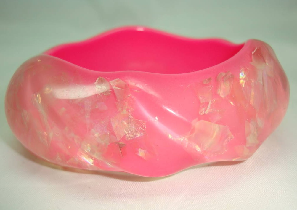 Fab Wide Chunky Barbie Pink Sparkle Swirl Design Lucite Cuff Bangle