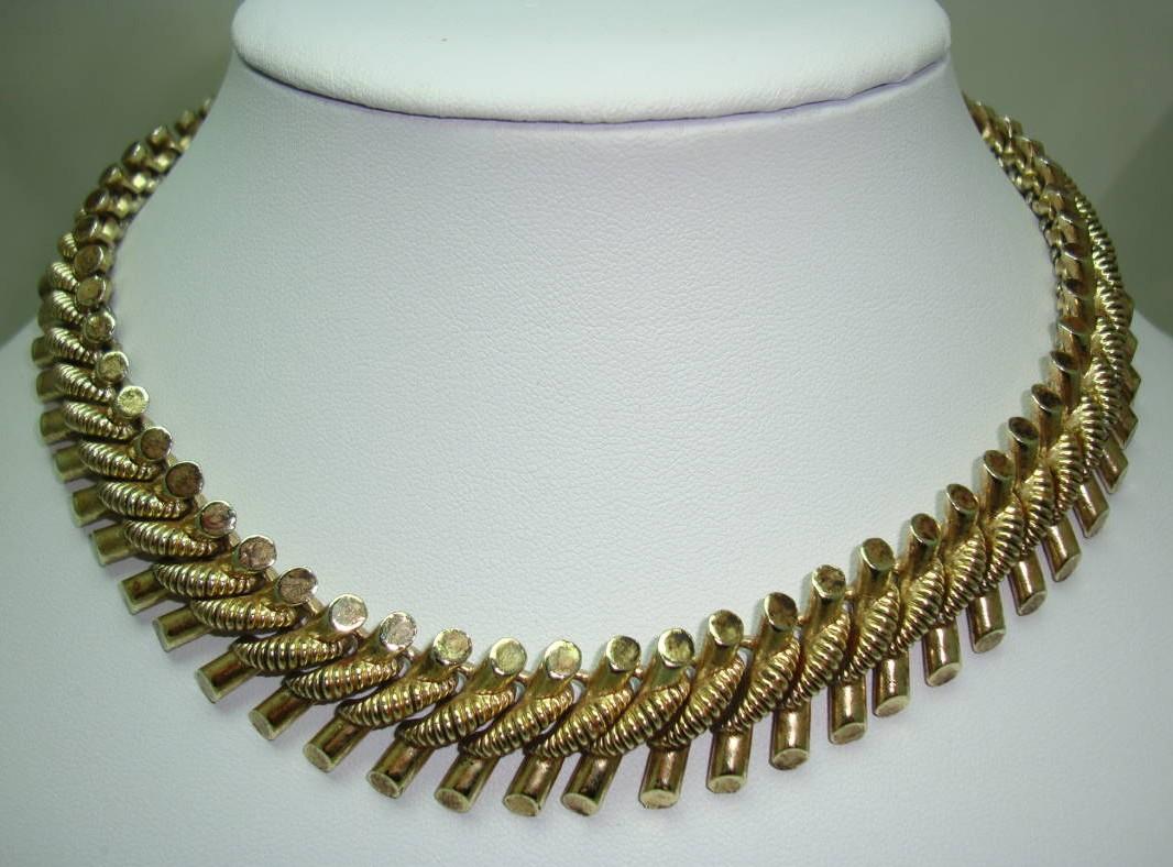 £36.00 - Vintage 50s Quality Fancy Link Heavy Goldtone Necklace Designer