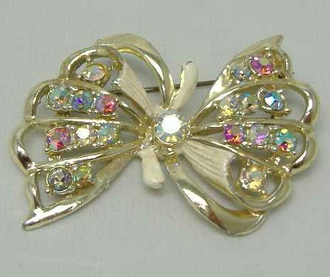 £12.00 - Vintage 50s Signed Hollywood Sparkling AB Diamante Enamel Bow Brooch