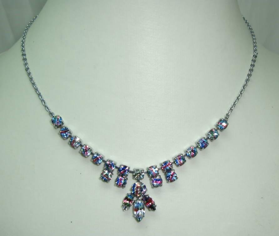Vintage 30s Sparkling Rhinestone Diamante Drop Necklace