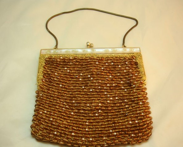 Vintage 50s Super Amber Gold Bead Lucite Frame Evening Handbag Fab!