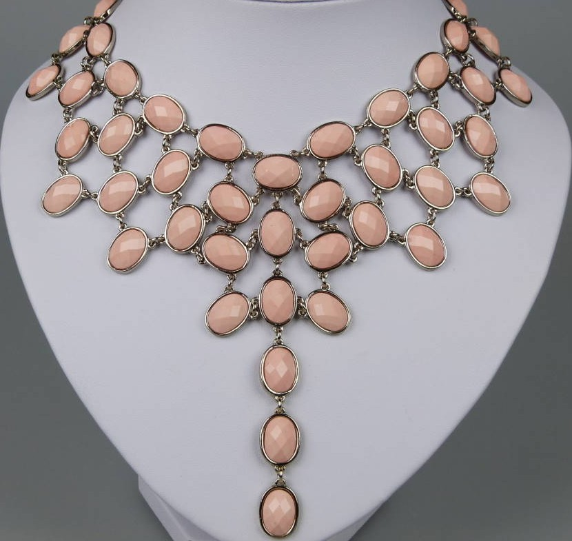 Amazing 1960s Style Festoon Bib Drop Pink Lucite Silver Link Necklace