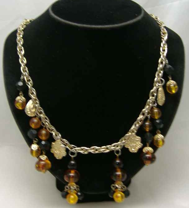 £30.00 - 1950s Citrine Glass Lucite Bead Dangle Drop Necklace
