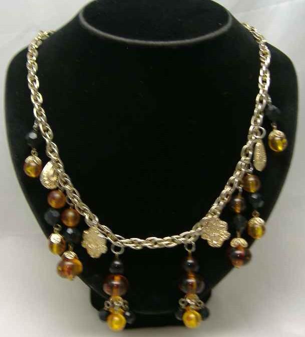 £30.00 - 1950s Citrine Glass Lucite Bead Dangle Drop Necklace